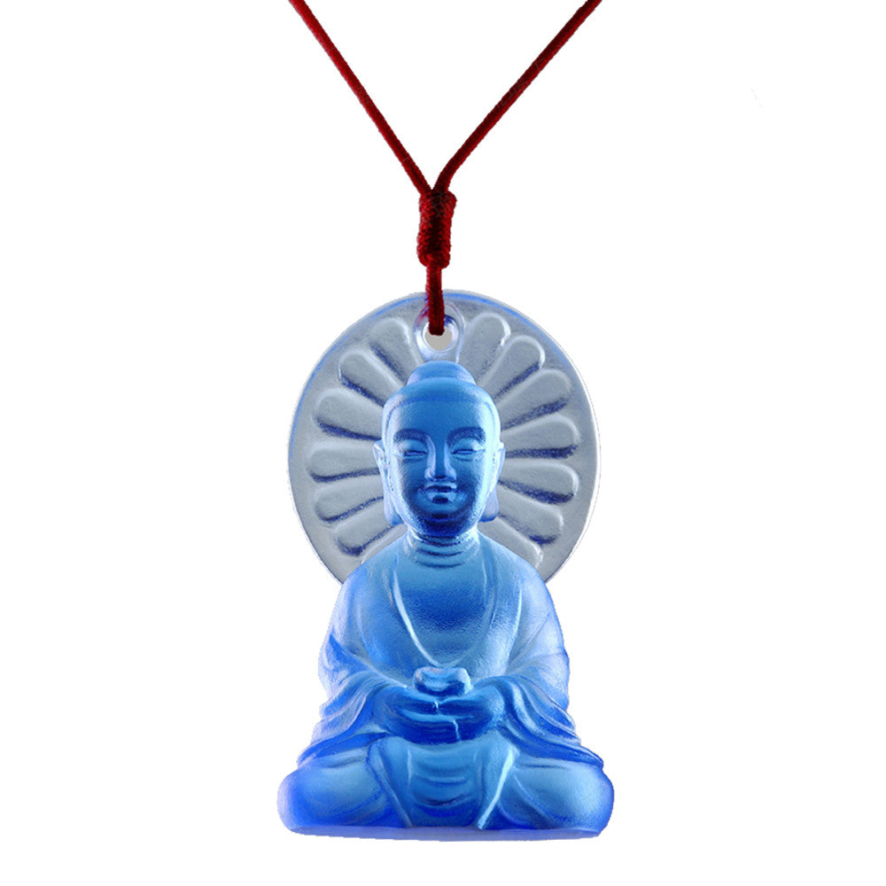 Luminosity at Hand, Medicine Buddha Pendant - LIULI Crystal Art - Blue.