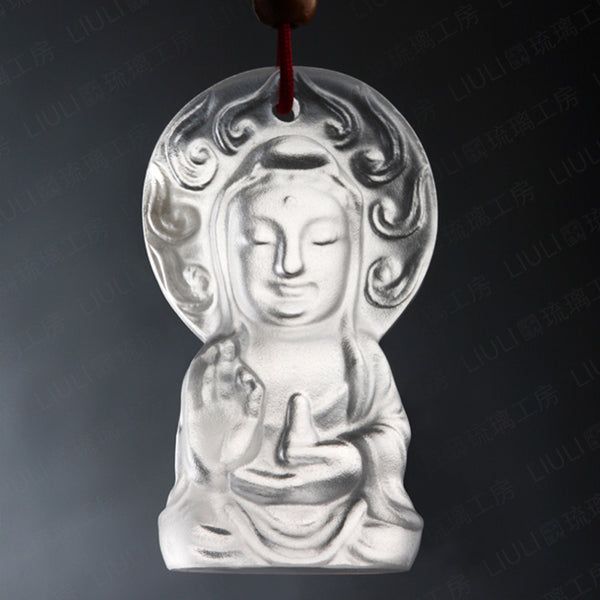 Pure Bottle Guan Yin Pendant - Serenity at Hand - LIULI Crystal Art | Collectible Glass Art