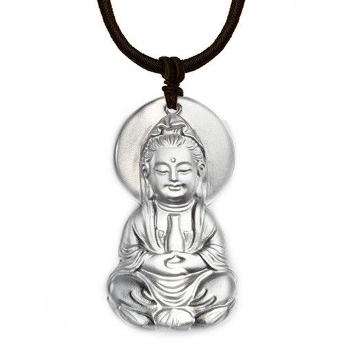 Crystal Pendant, Necklace, Guanyin, Omnipresent Serenity - LIULI Crystal Art
