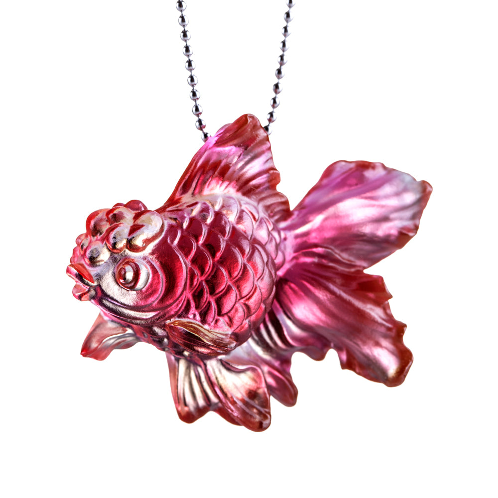 Crystal Necklace, Pendant, Goldfish, Upon the Heart - LIULI Crystal Art