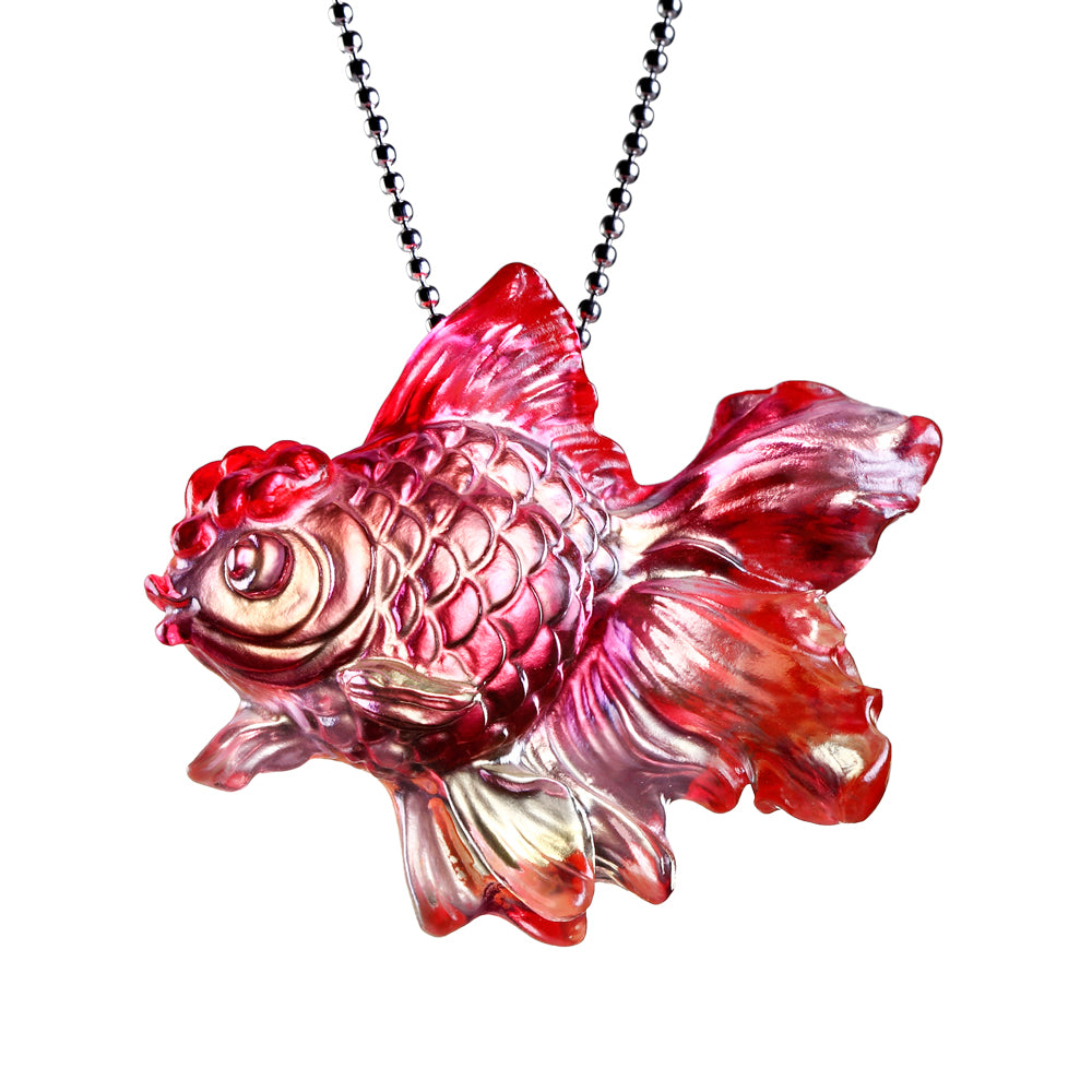 Necklace, Pendant (Goldfish, Life is Beautiful) - Upon the Heart - LIULI Crystal Art - [variant_title].