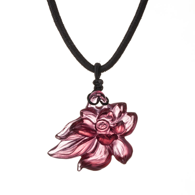 Necklace - Lotus Heart of Purity (Special Edition) - LIULI Crystal Art - Gold Red.