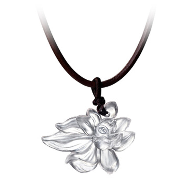 Necklace - Lotus Heart of Purity (Special Edition) - LIULI Crystal Art - Powder White.