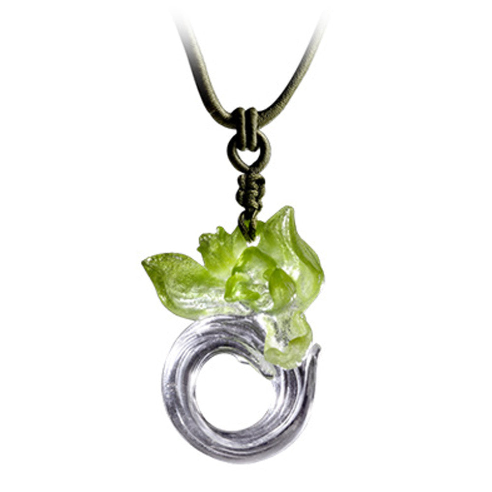 Crystal Necklace, Orchid Flower, Imminent Spring Dance - LIULI Crystal Art