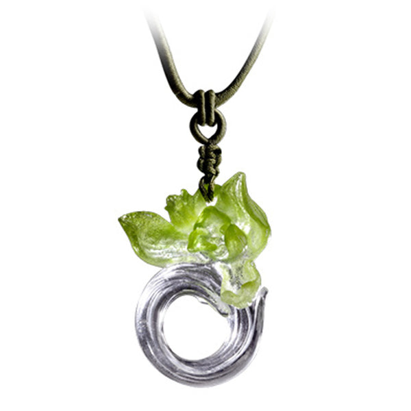Necklace (Orchid Flower) - Imminent Spring Dance - LIULI Crystal Art | Collectible Glass Art
