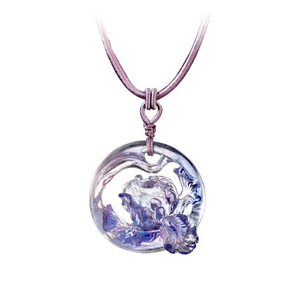 Crystal Necklace, Iris Flower, Arising through Contentment - LIULI Crystal Art