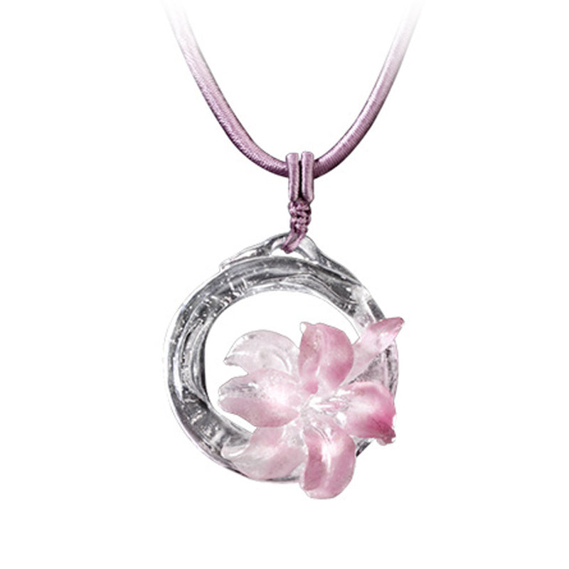 Crystal Necklace, Flower, Bloom of a New World - LIULI Crystal Art - Pink Powder.
