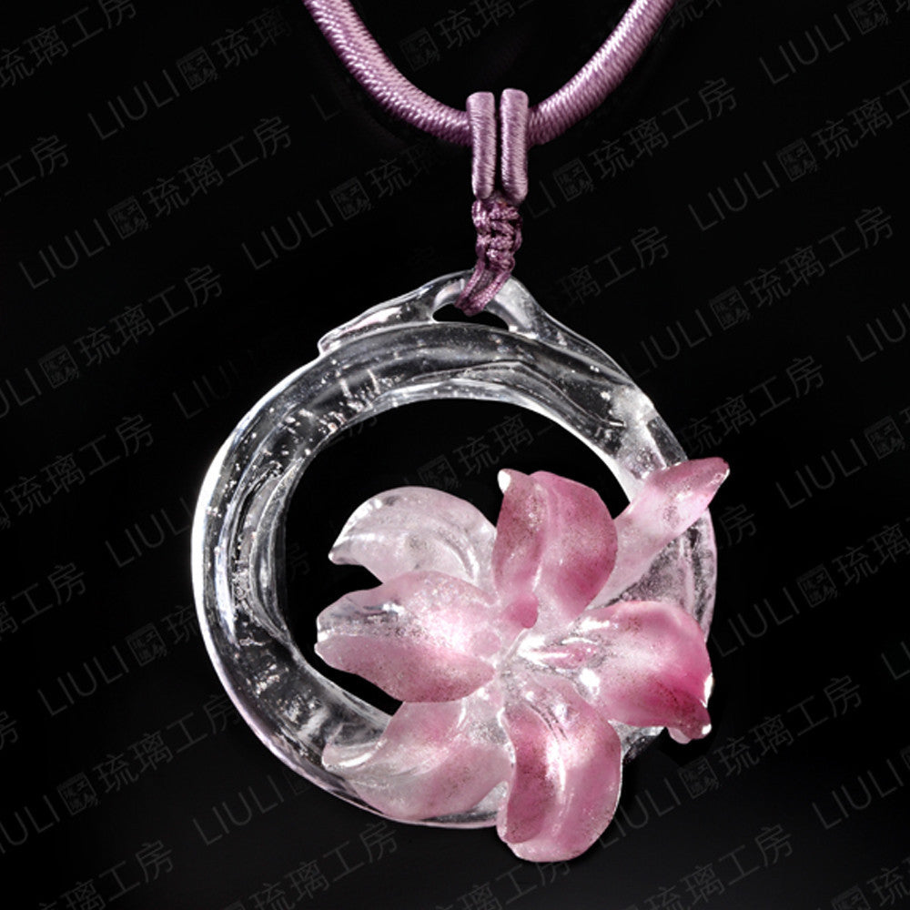Crystal Necklace, Flower, Bloom of a New World - LIULI Crystal Art