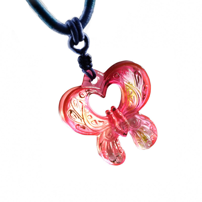 Crystal Pendant, Necklace, Butterfly, Hearts Entwined - LIULI Crystal Art