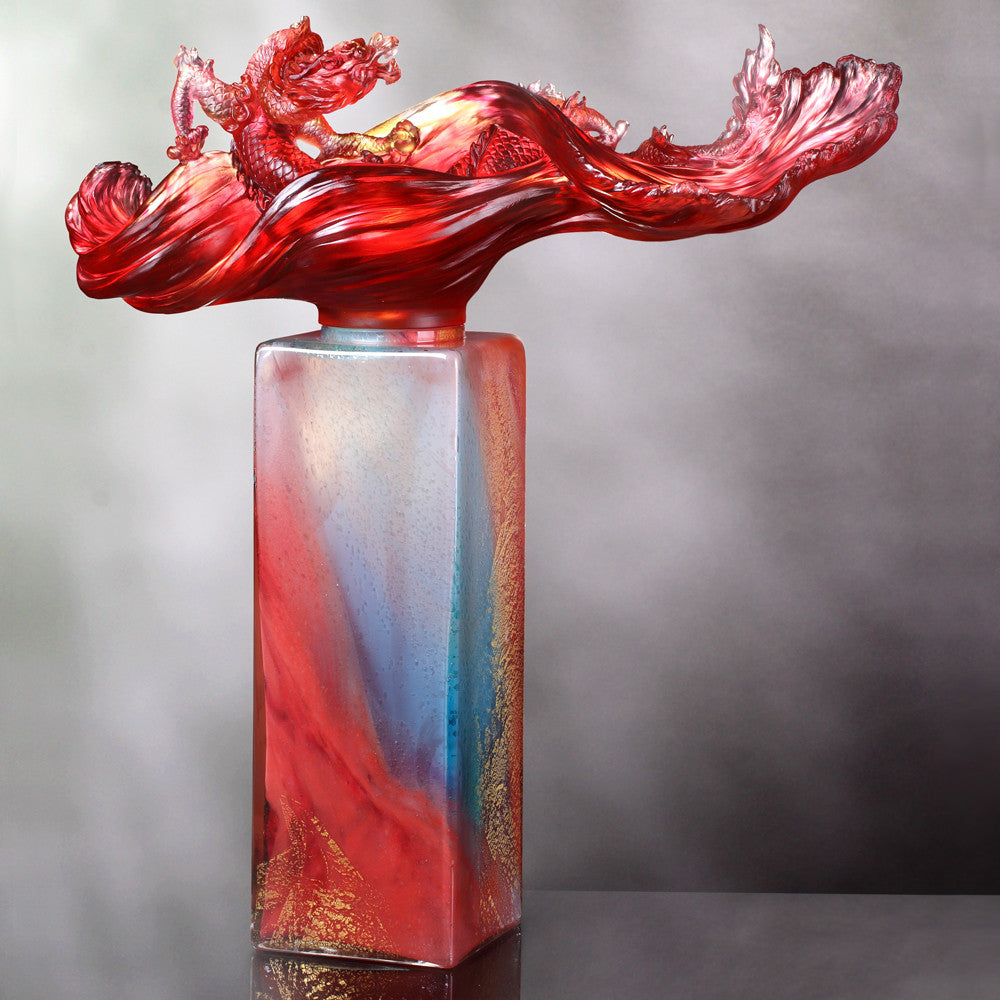 Dragon Rising Baoping (Treasure Vase) - Dragon of Water Element - LIULI Crystal Art - Amber / Gold Red.