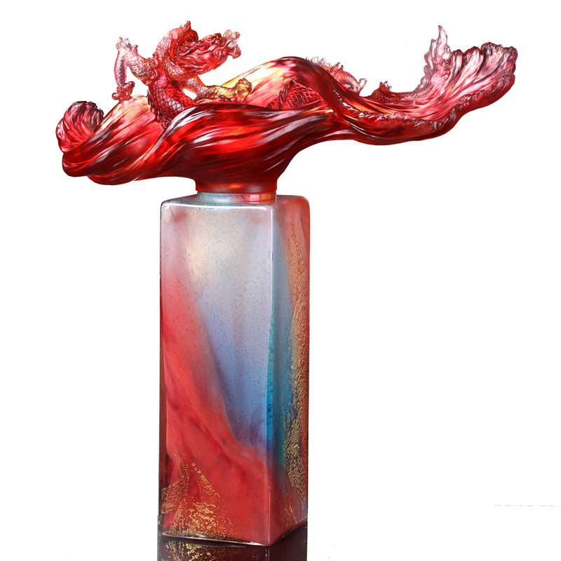 Crystal Treasure Vase, Feng Shui, Dragon of Water Element, Dragon Rising Baoping - LIULI Crystal Art