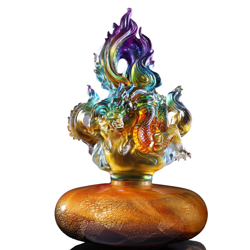 Crystal Treasure Vase, Feng Shui, Dragon of Fire Element, Fiery Illumination Baoping - LIULI Crystal Art