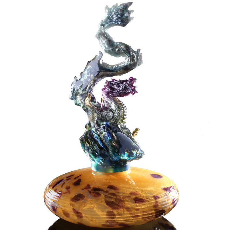 Crystal Treasure Vase, Feng Shui, Dragon of Earth Element, Heavenly Exaltation Baoping - LIULI Crystal Art