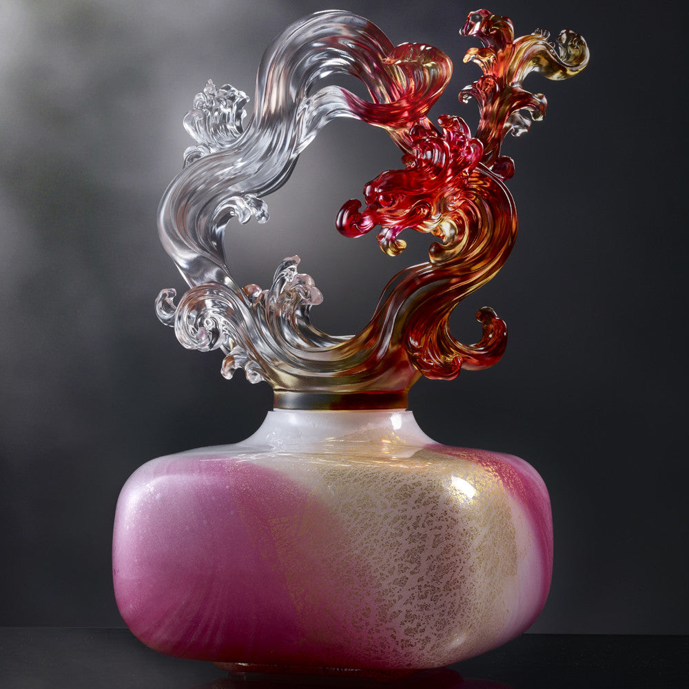 Ethereal Chime Baoping (Treasure Vase) - Dragon of Metal Element - LIULI Crystal Art - Sapphire Blue / Purple.