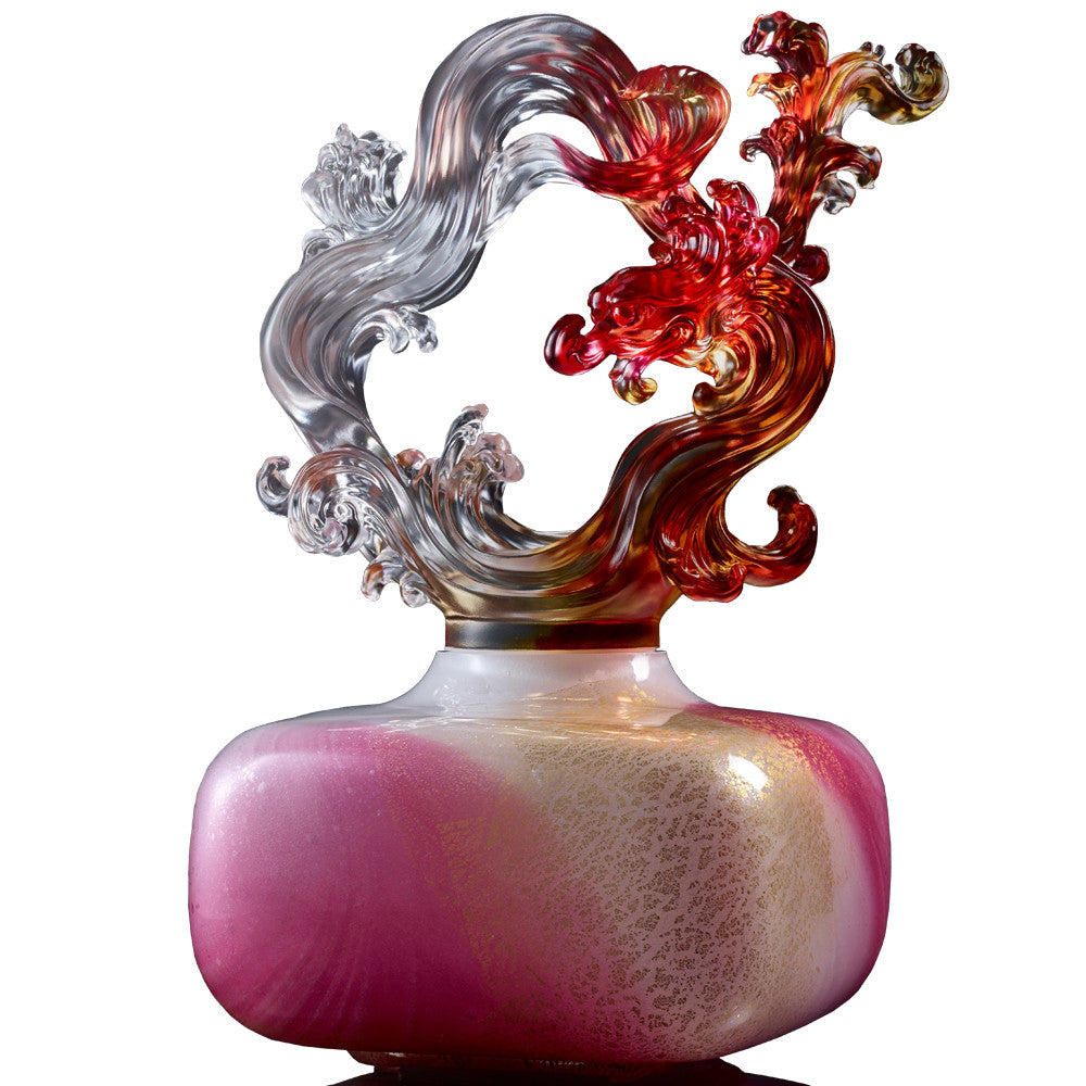 Crystal Treasure Vase, Feng Shui, Dragon of Metal Element, Ethereal Chime Baoping - LIULI Crystal Art