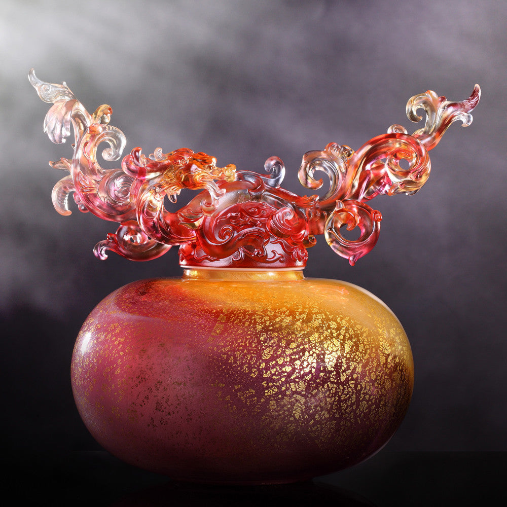 Eternal Peace Baoping (Treasure Vase) - Dragon of Wood Element - LIULI Crystal Art - Amber / Gold Red.
