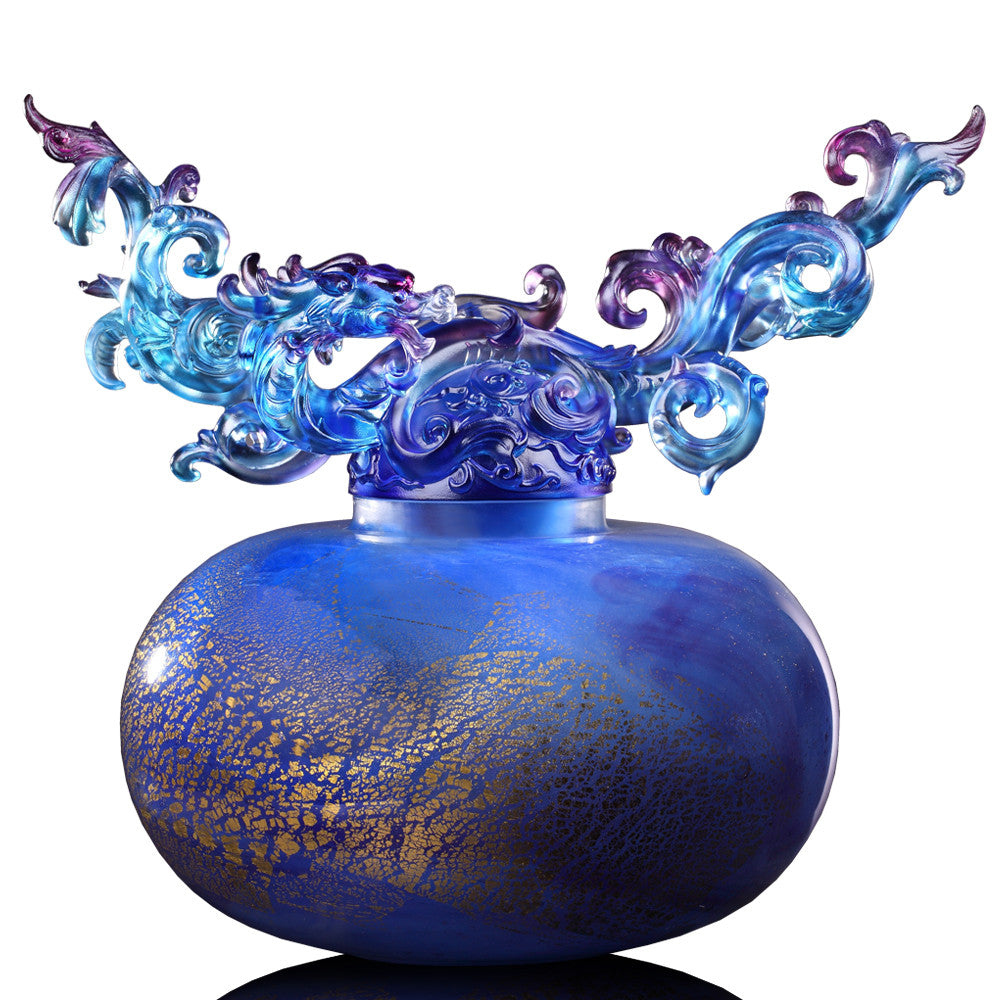Eternal Peace Baoping (Treasure Vase) - Dragon of Wood Element - LIULI Crystal Art - Royal Purple / Red.