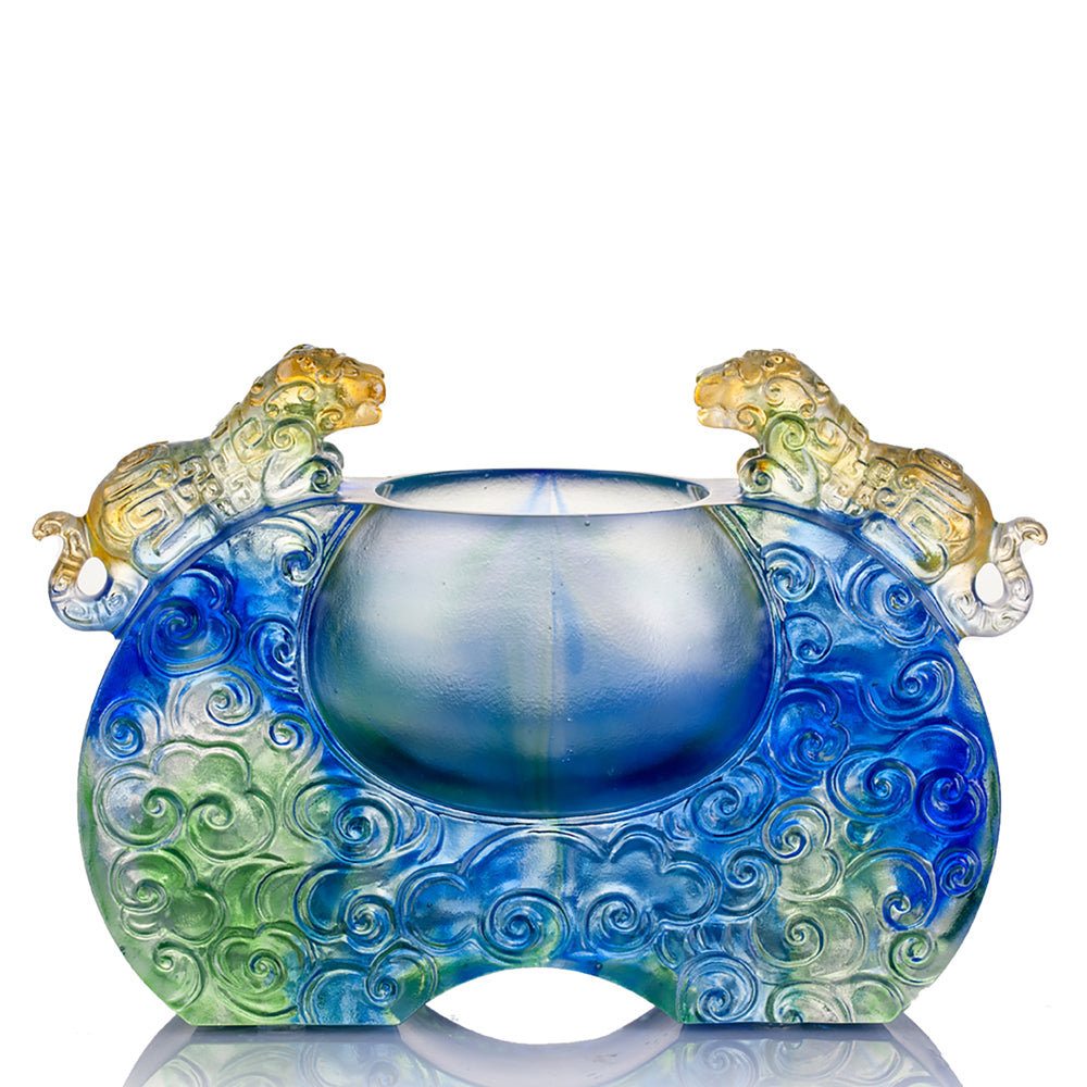 Crystal Vessel, Chinese Ding, A Majestic Duo - LIULI Crystal Art - [variant_title].