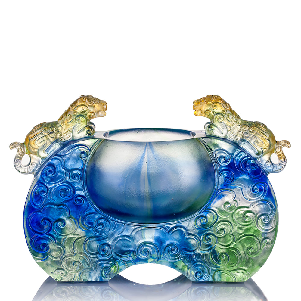Crystal Vessel, Chinese Ding, A Majestic Duo - LIULI Crystal Art