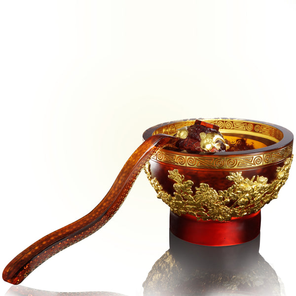 -- DELETE -- Harmonious Realization - Scoop of Moon (Harmony), 24K Gold Plated Bowl with Ruyi Scoop - LIULI Crystal Art