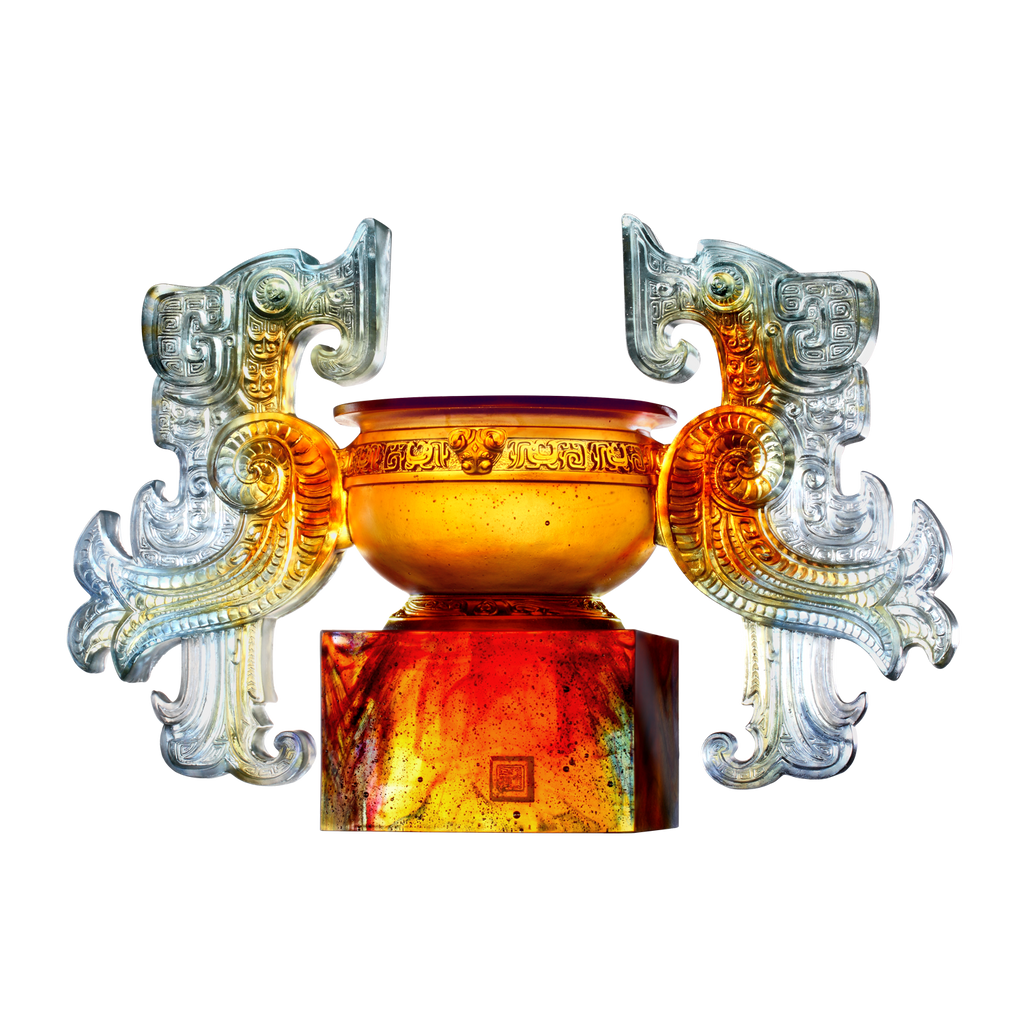 Grace of the Phoenix Ding (Nobility) - Phoenix Vessel, Crystal Chinese Ding - LIULI Crystal Art - [variant_title].
