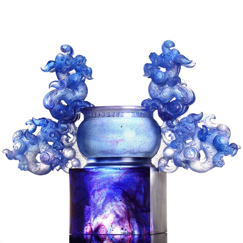 Exultation of Heaven and Earth Ding (Nobility) - Dragon Vessel, Crystal Chinese Ding - LIULI Crystal Art - Blue.