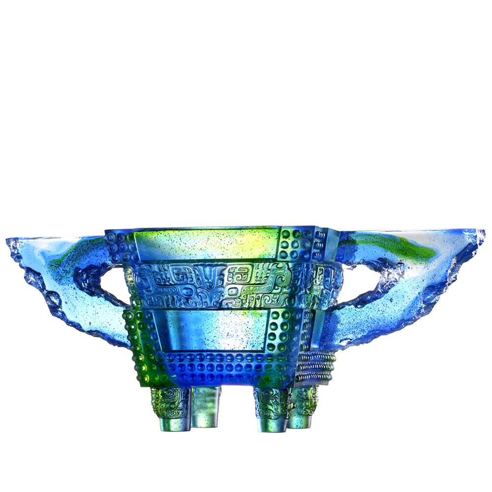 The Verity of Grandeur (Achievement) - Vessel, Crystal Chinese Ding - LIULI Crystal Art - Bluish / Green Clear.