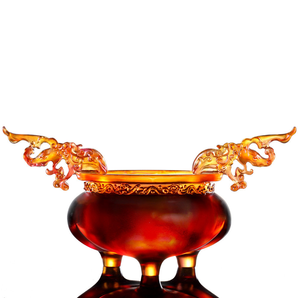 Crystal Vessel, Chinese Ding, Celebratory Ding - LIULI Crystal Art - Amber / Gold Red.