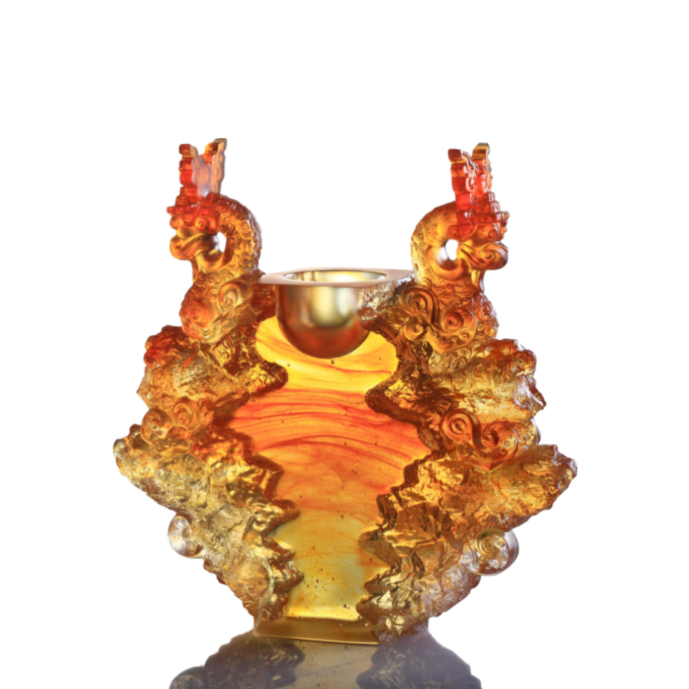 Docility with Boldness-Ding of Dragon Rising (Crystal Chinese Vessel) - LIULI Crystal Art