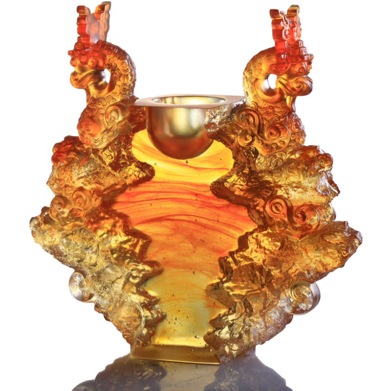 Crystal Vessel, Chinese Ding, Docility with Boldness-Ding of Dragon Rising - LIULI Crystal Art