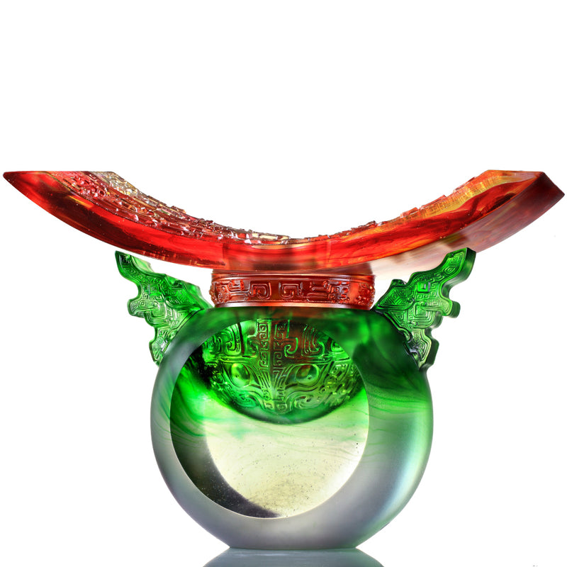 Crystal Vessel, Chinese Ding, Bluntness with Respect-Ding of Mutual Respect - LIULI Crystal Art