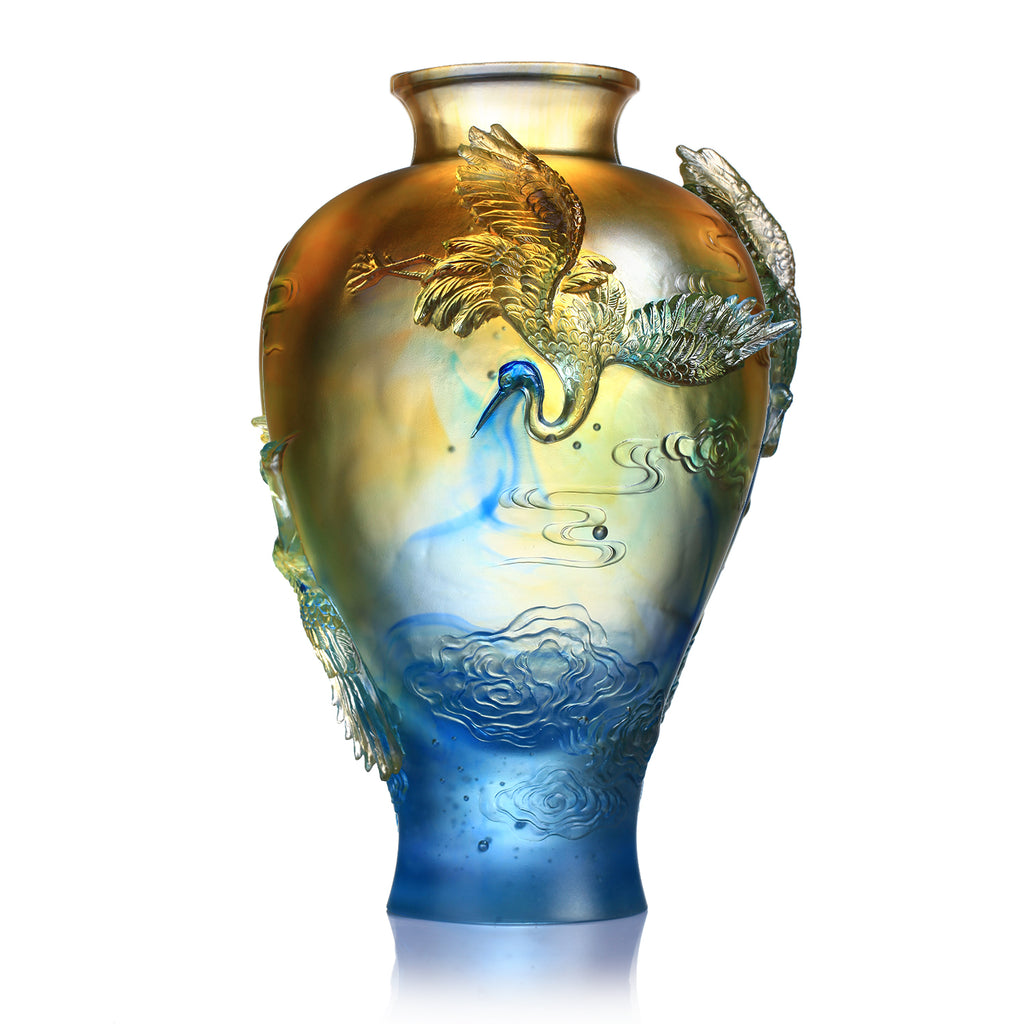 Crystal Floral Vase, Crane, Flight of Legacy
