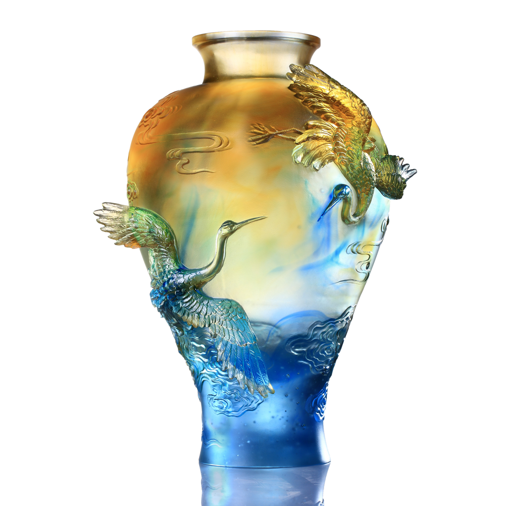 Crystal Floral Vase, Crane, Flight of Legacy - LIULI Crystal Art