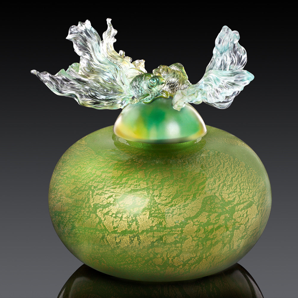 Crystal Treasure Vase, Goldfish, A Vase of Riches-Golden Jade Joy - LIULI Crystal Art