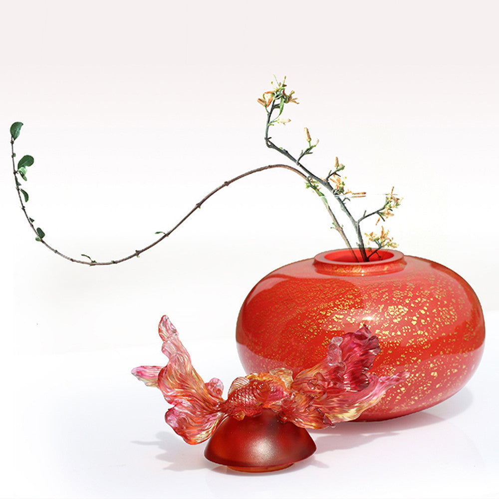 Crystal Treasure Vase, Goldfish, Golden Jade Joy- A Vase of Riches - LIULI Crystal Art - [variant_title].