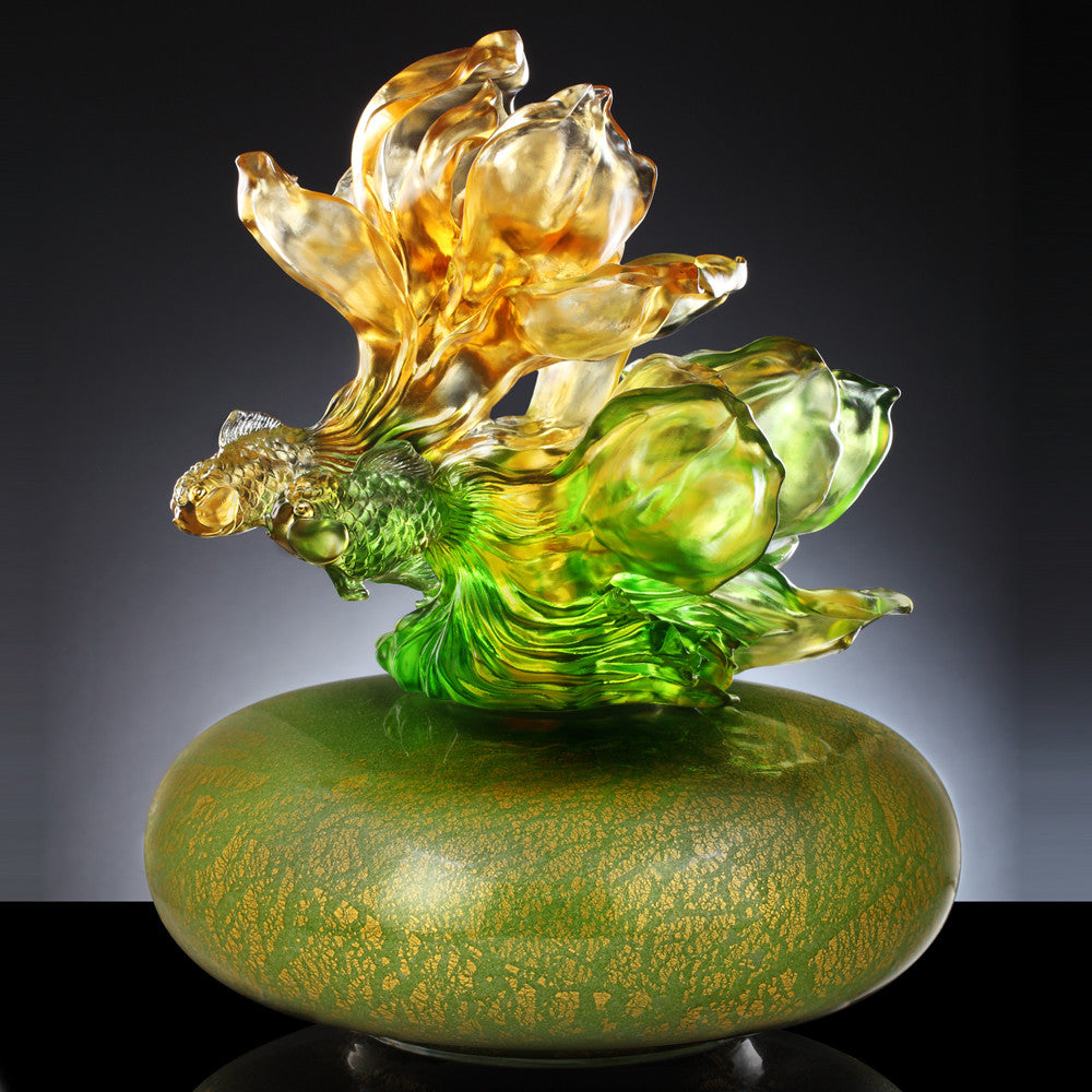 A Vase of Riches (Treasure Vase, Prosperity) - White Yulan Luck - LIULI Crystal Art - Powder Green.