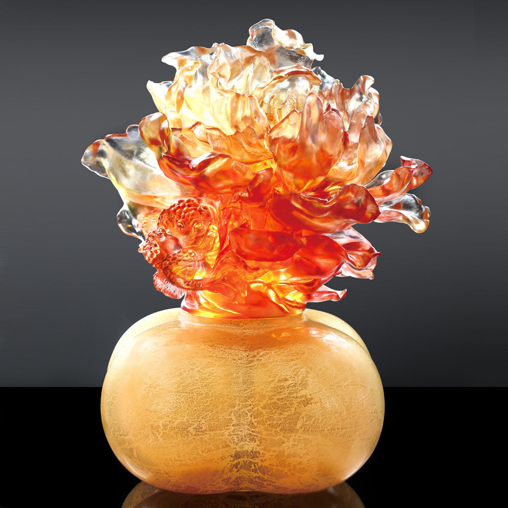 Peony Grandeur (Lavishness) - A Vase of Riches--Treasure Vase - LIULI Crystal Art - Yellow Powder.