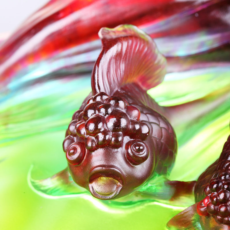 Crystal Fish, Goldfish, Harmonious Beauty - LIULI Crystal Art