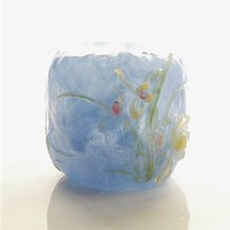 Limpid Showers, Blossoming Orchid (Elegance) - Floral Vase - LIULI Crystal Art - Powder Blue.