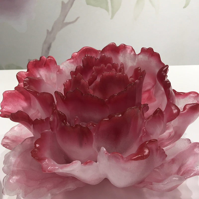 Crystal Flower, Floral Vase, Heavenly Blooms: Peony Flower (24k Gilded) - LIULI Crystal Art