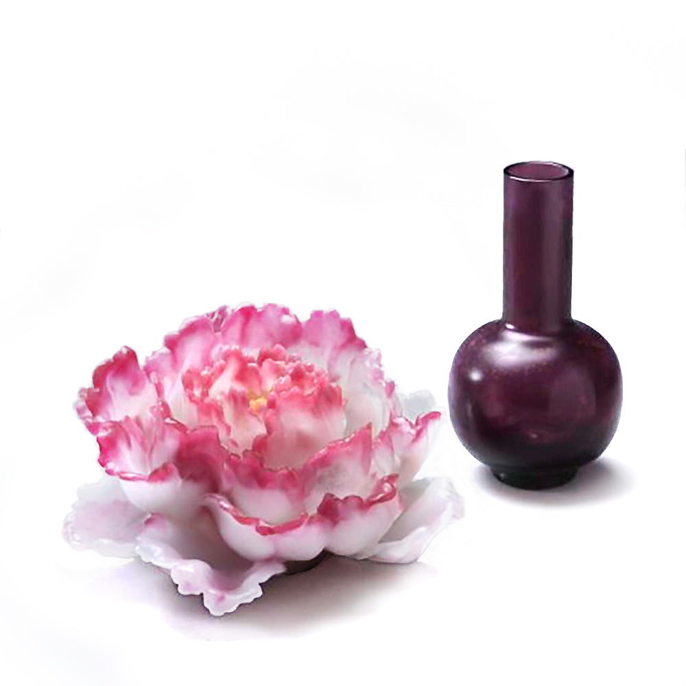 Heavenly Blooms: Peony Flower Figurine (Like Liuli, Like Flower) - LIULI Crystal Art - Powder Red / Pink.