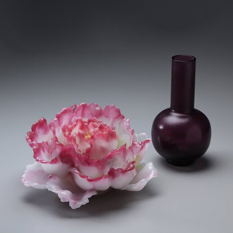 Heavenly Blooms: Peony Flower Figurine (Special Edition, 24K Gilded) - LIULI Crystal Art - [variant_title].