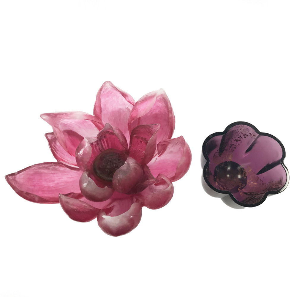 Crystal Flower, Fiery Red: Lotus Flower - LIULI Crystal Art