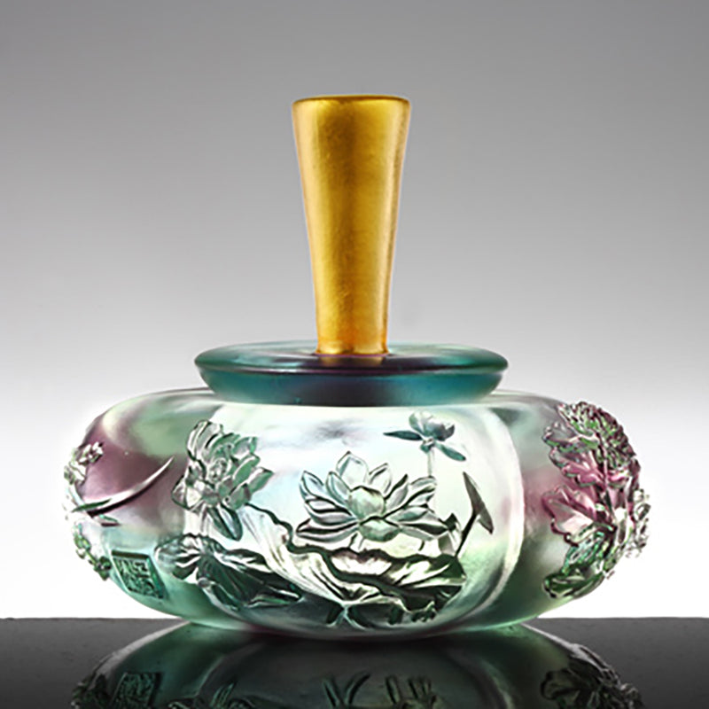 Crystal Jewelry Container with 24K Gold Leaf Lid/Cap, Prosperous Golden Blooms, Peace of Four Seasons-Four Seasons Bottle - LIULI Crystal Art