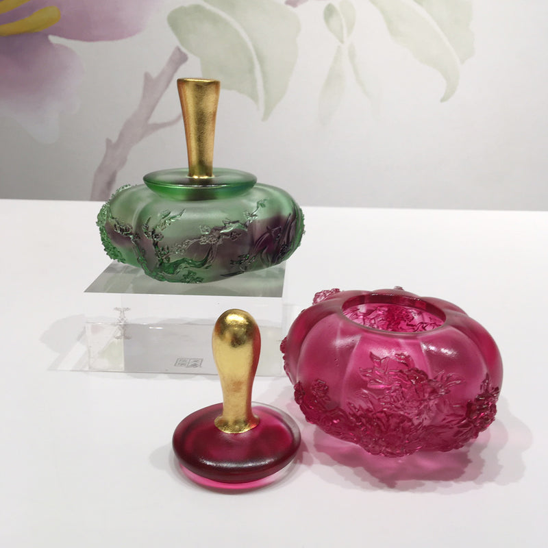 Crystal Container with 24K Gold Leaf Cap, Accumulation of Spring Treasure - LIULI Crystal Art - [variant_title].