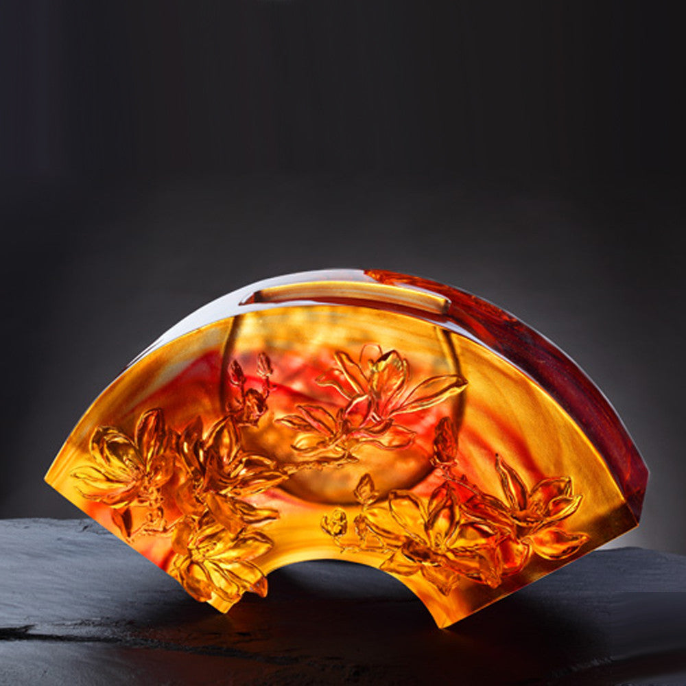 Crystal Flower, Magnolia, The Magnolia of Spring - LIULI Crystal Art