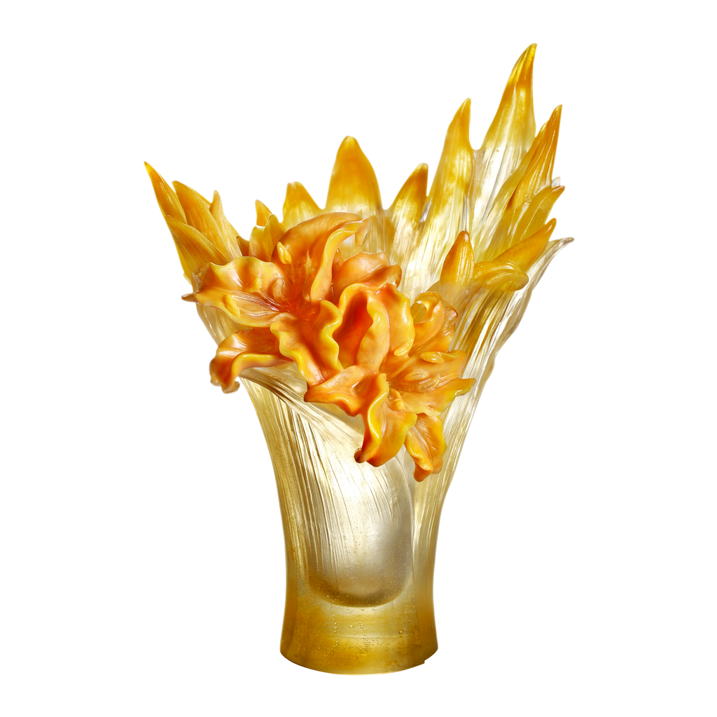 Crystal Flower, Lily Flower, Lily In Harmony - LIULI Crystal Art - Amber Powder.