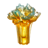 Crystal Flower, Peony Bloom, Our Great Beauty - LIULI Crystal Art - Sky Blue / Amber Clear.