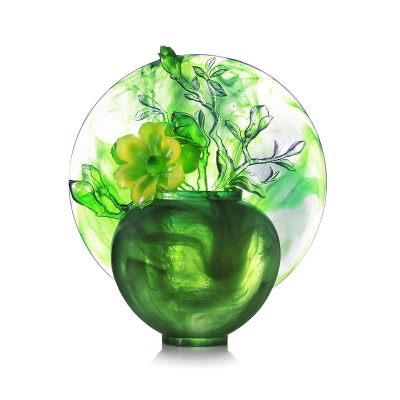 Crystal Flower, Magnolia, World of Beautiful Compassion - LIULI Crystal Art - Powder Green.