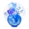 Crystal Flower, Magnolia, World of Beautiful Compassion - LIULI Crystal Art - Powder Blue.